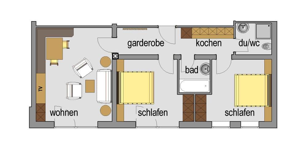 Appartement Streich 1: Drei-Zimmer-Ferienwohnung für 2 bis 5 Personen 7