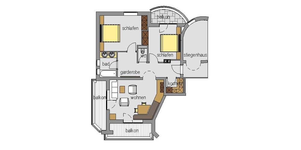 Appartement Streich 2: Drei-Zimmer-Ferienwohnung für 2 bis 5 Personen 7